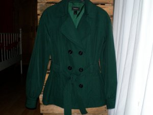Mango Short Coat forest green polyester