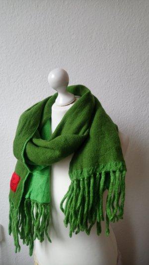 Grüner Wollschal mit Fransen von , Wendeschal, zweifarbig, Erfurt Luxury