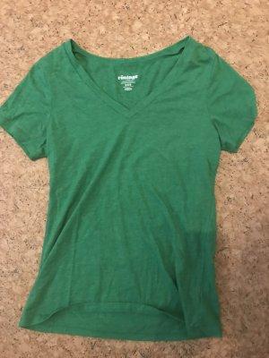 Grünes Baumwolle V-Ausschnitt-Shirt