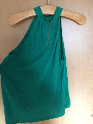 Grünes H&M Top mit goldenem Reisverschluss am Rücken