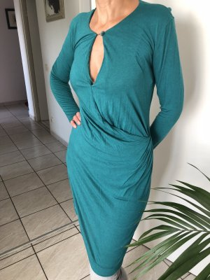 Grünes Kleid lange Ärmel Verzierung an der Taille