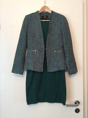 Grünes Kleid und passende Tweed Jacke H&M
