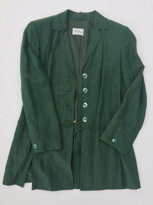 grünes Kostüm, Seide-Leinen mit langem Blazer