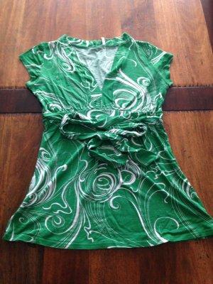Amisu Camicia a tunica bianco-verde bosco