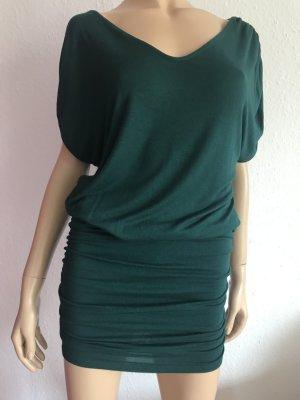 Grünes Oversize Shirtkleid Gr. 36 Minikleid kurzes Kleid Oversize Shirt Mini Stretchkleid
