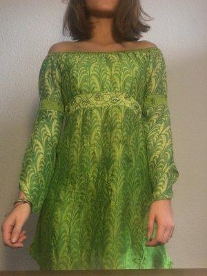 Robe Hippie vert prairie-vert clair soie