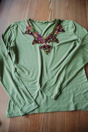 Grünes Shirt mit Pailetten und Bändern - Hippie Goa