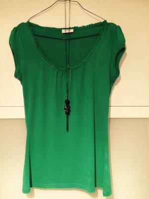 Grünes T-Shirt, Basic Größe M 36, 38, Orsay, Rüschchen
