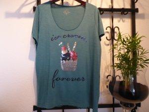 grünes T-Shirt mit Eisbecher aus Pailletten