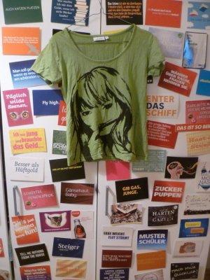 Grünes T-Shirt mit Print-Aufdruck, Basic, Sommer