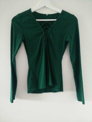 grünes vintage Shirt mit Schnürung
