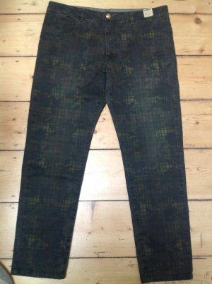 Monocrom Pantalon 7/8 vert forêt-kaki tissu mixte