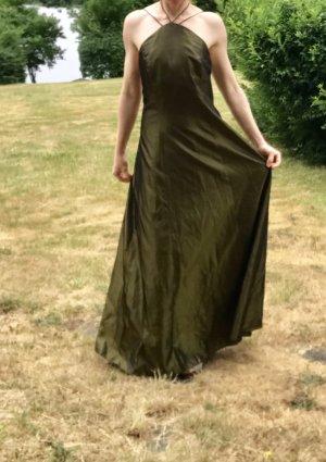 Robe de bal vert olive-doré