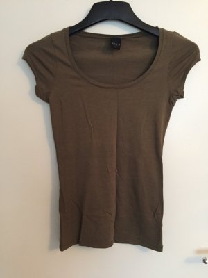 Grüngraues, enganliegendes Kurzarm Shirt
