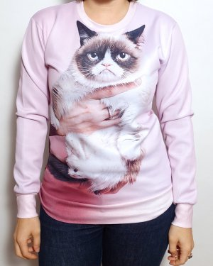 Grumpycat Pullover Sweater mit Katze