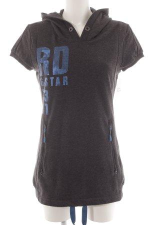 Gstar Kapuzensweatshirt anthrazit-neonblau Motivdruck Casual-Look