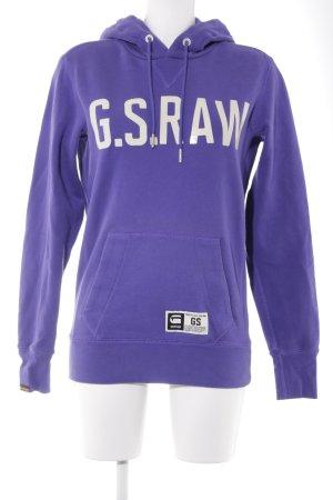 Gstar Kapuzensweatshirt lila-wollweiß Schriftzug gedruckt 90ies-Stil