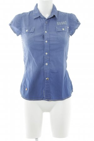 Gstar Kurzarm-Bluse dunkelblau-kornblumenblau Farbverlauf Casual-Look