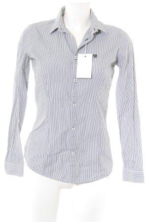 Gstar Langarm-Bluse weiß-grau Streifenmuster Casual-Look