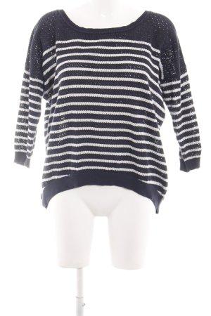 Gstar Rundhalspullover schwarz-weiß Streifenmuster Casual-Look