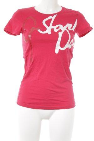 Gstar T-Shirt neonrot-weiß Schriftzug gedruckt 90ies-Stil