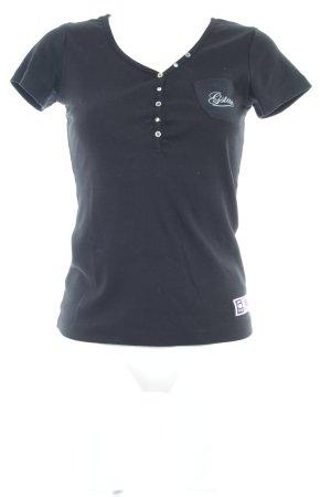 Gstar T-Shirt schwarz Schriftzug gedruckt Casual-Look