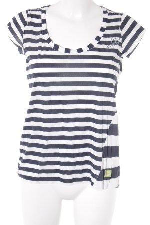 Gstar T-Shirt weiß-dunkelblau Streifenmuster sportlicher Stil