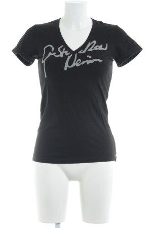 Gstar V-Ausschnitt-Shirt schwarz-hellgrau Schriftzug gedruckt Casual-Look