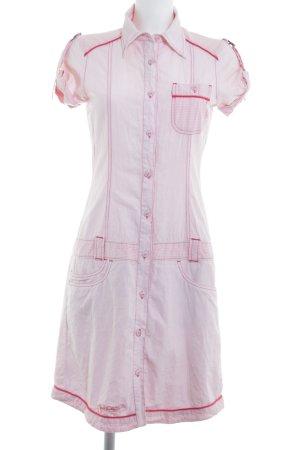 Gsus Vestido tipo blusón rosa empolvado-blanco estampado a rayas look casual