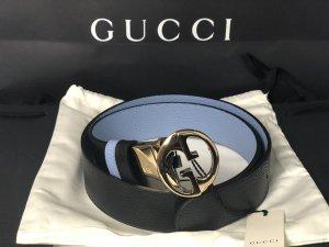 Gucci Dubbele riem zwart-azuur