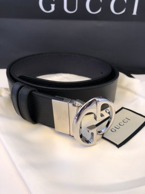 Gucci Double Belt black-dark blue leather