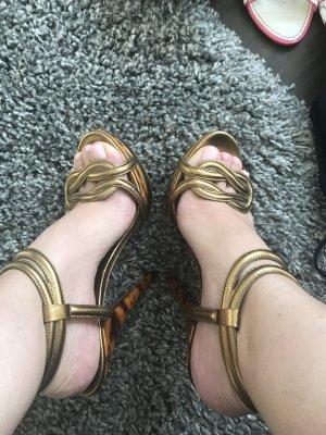 Gucci Hoge hakken sandalen goud-brons