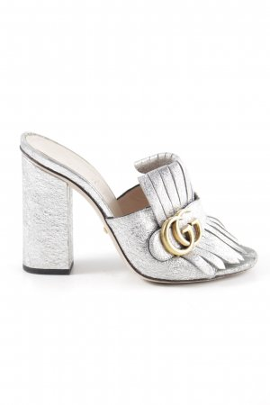 Gucci Heel Pantolettes silver-colored-gold-colored extravagant style