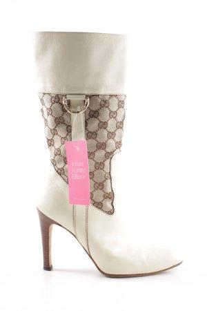 Gucci Absatz Stiefel creme Motivdruck extravaganter Stil