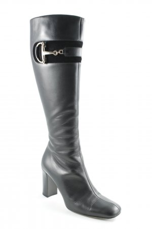 Gucci Absatz Stiefel schwarz-silberfarben Elegant