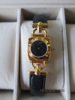 Gucci Armbanduhr mit lederarmband 18 Karat Gold beschichtet