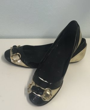 Gucci Patent Leather Ballerinas black-sand brown