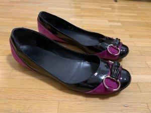 Gucci Ballerina di pelle verniciata nero-viola
