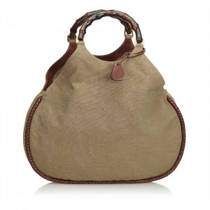 Gucci Bamboo Canvas Handbag