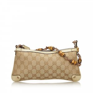 Gucci Bamboo GG Canvas Baguette