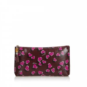 Gucci Bamboo Heart Print Leather Pouch