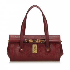 Gucci Bamboo Leather Bullet Handbag