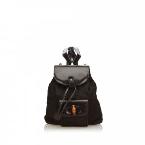 Gucci Bamboo Nylon Drawstring Backpack