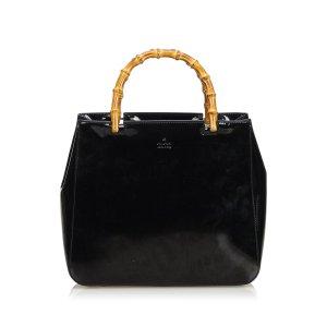 Gucci Bamboo Patent Leather Handbag