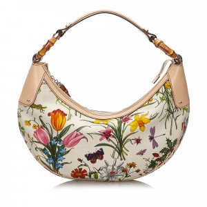Gucci Bamboo Ring Flora Canvas Shoulder Bag