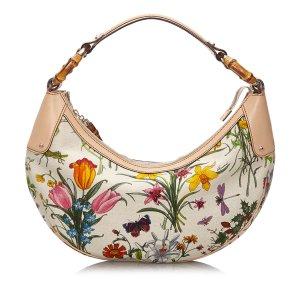 Gucci Bamboo Ring Flora Canvas Shoulder Bag