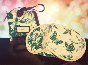 Gucci Beauty, Schlafmaske + Beutel, grün-nude mit Logo, neu
