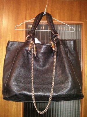 GUCCI Black Leather Jungle Large Tote Bag