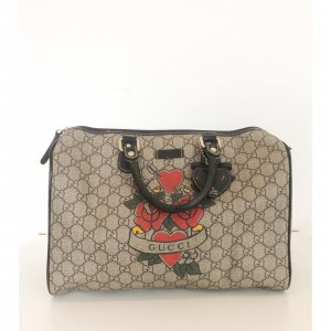 Gucci Bosten Tattoo Heart & Rose Leinen Bag 25 Beige Limited Edition braun rot