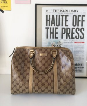 Gucci Boston Patent Bag Bowling 23 Handtasche Logo Print Gold braun